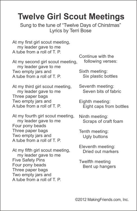 Step 1: Funny New Song -- Twelve Girl Scout Meeting -- from MakingFriends.com