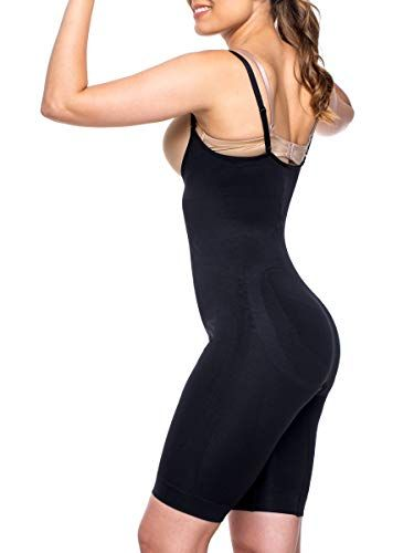 feb8520ee5 Miorre Women s Shapewear Seamless Open Bust Long Leg Body Suit Thigh Slimmer