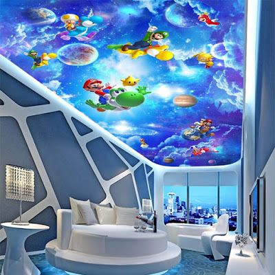 New 3d Ceiling Art Designs For Modern Interior How To Install 3d Ceiling Art 3d Stretch Ceiling Designs Type Kids Room Wallpaper Room Wallpaper Kid Room Decor