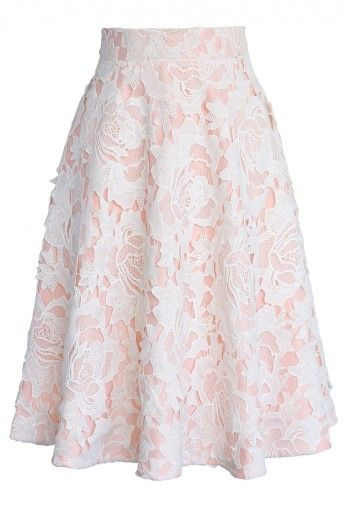 My Dear Roses Lace A-line Midi Skirt in Pink