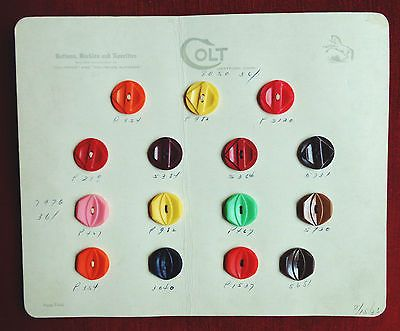 560 Le Chic Buttons Salesman Sample Order Book 14 Cards Figural - Sample Cards