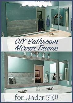 Diy Bathroom Mirror Frame Cheap Easy Do It Yourself Mirror Makeover Blue Wood Stain In 2020 Bathroom Mirror Frame Bathroom Mirror Makeover Diy Bathroom