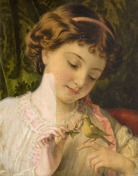 Sophie Gengembre Anderson  Young Girl Bird Turtledove Count Chart Stitch Pattern
