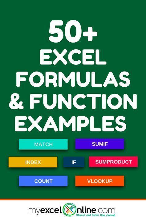 Excel Formulas & Function Examples   excel   Excel hacks