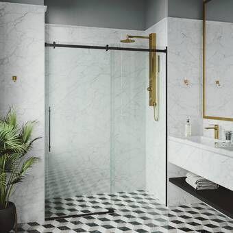 Ultra D 60 X 79 Single Sliding Frameless Shower Door In 2020 Frameless Shower Doors Frameless Sliding Shower Doors Sliding Shower Door