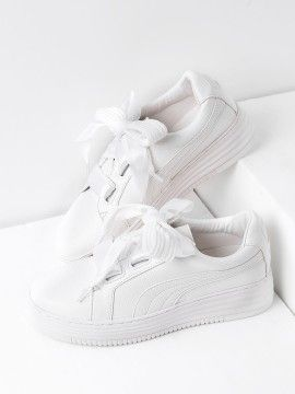 Ribbon Lace Up Sneakers | Faux leather