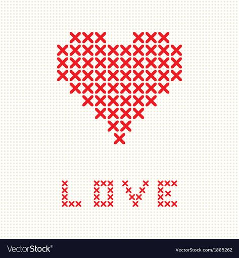Valentines card with embroider heart Royalty Free Vector