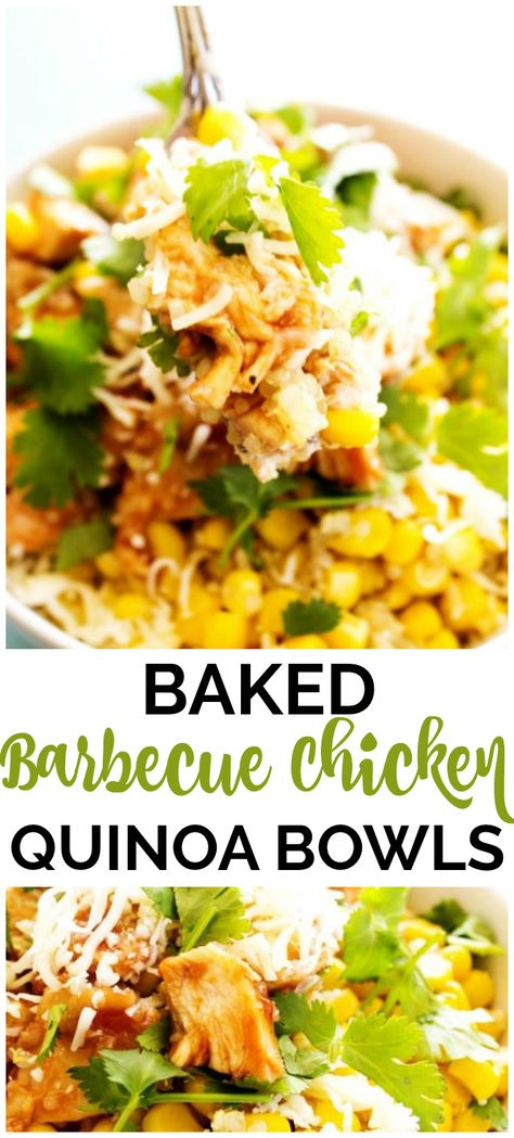 These Baked Barbecue Chicken  Quinoa Bowls are a healthy, easy to make, and delicious meal that are great for on-the-go dinners. #quinoarecipes #chickenfoodrecipes #barbecuechicken