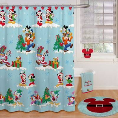 Disney Holiday 72 X 70 Shower Curtain And Hook Set Multi