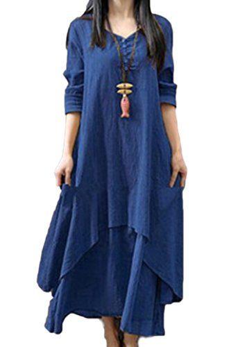66b37dbce2ace Women Cotton Linen Boho Dress Loose Vintage Plus Size Maxi Dresses ...