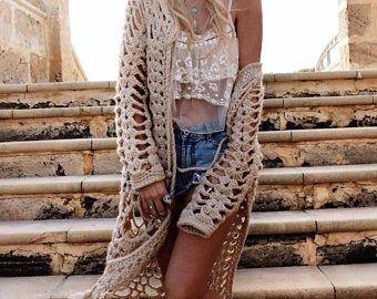 Christmas Gift . Boho Hippie Wear Winter Trend Crochet Oversized Chunky  Hood Kimono Caftan Cardigan
