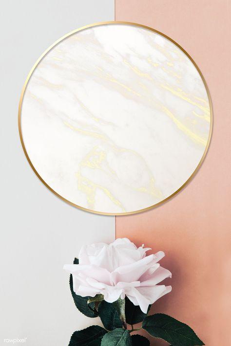 Golden floral marble frame design   premium image by rawpixel.com / Donlaya