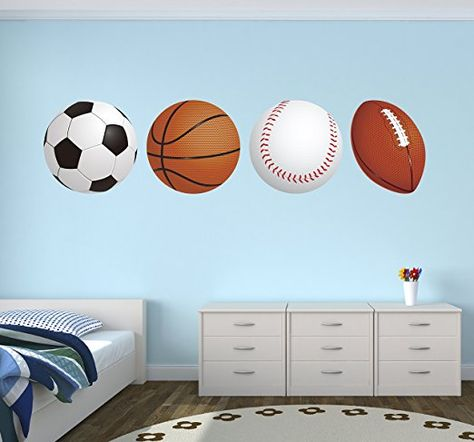 Amaonm Removable 3D Sport Ball Toy Games Wall Stickers Decor DIY Basketball Football Tennis Rugby Peel and Stick Fun Wall Decals for Kids bedroom Playroom Nursery School Classroom Boy Room Living room