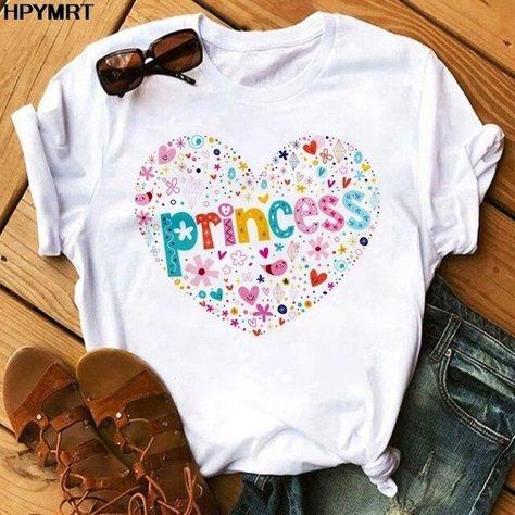 Pink Heart Flower Print Women T-Shirt Casual White Tops Summer Short Sleeve Women T Shirt Kawaii Love Print Female Tees clothing - YH-4487 / S