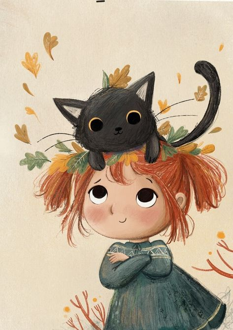 Autumn Leaves and Cats, an art print by Lucy Fleming - INPRNT