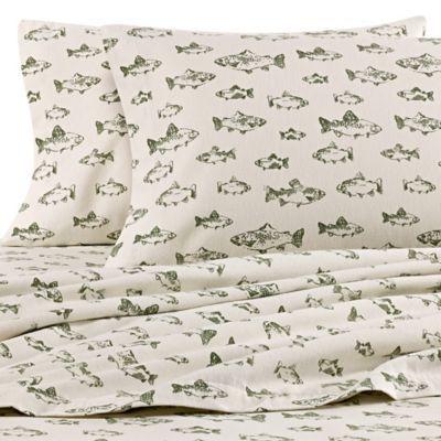 Eddie Bauer School Of Fish Twin Xl Flannel Sheet Set In Green Ivory Sheet Sets Fishing Bedroom Camping Theme Bedroom Twin xl flannel sheet sets