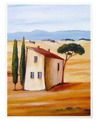 Christine Huwer Toskana Modern Malerei Landschaftssteppdecken Abstrakte Malerei