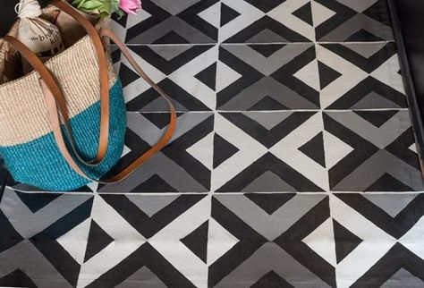 "Design*Sponge DIY: Don't want to commit to painted floors or tiles? Here's How-To make a painted patterned floor cloth that's easy to clean. Using Royal Design Studio wall stencil ""All the Angles Moroccan Stencil"""