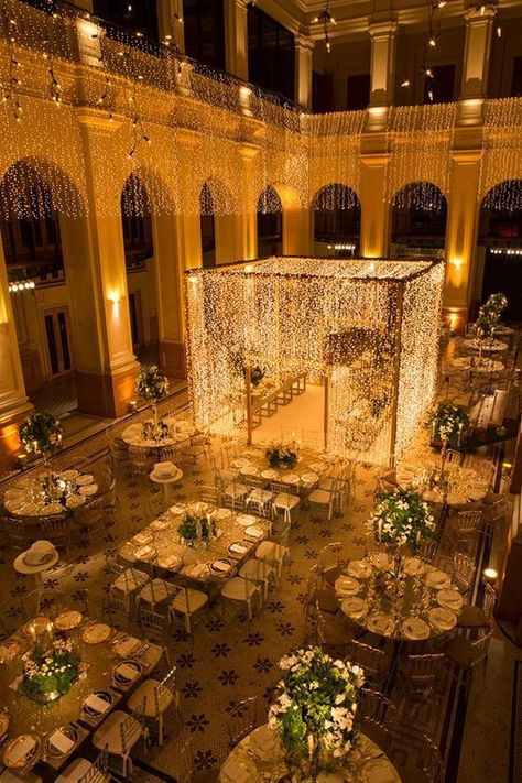 Weddings are a celebratory occasion which brings together two families. Confused whether to decorate your wedding mandap using florals or lights? We have curated a list with some awe-inspiring Wedding Mandap decor inspirations we know you'll love. Wedding Ceremony Ideas, Indoor Wedding Ceremonies, Wedding Mandap, Wedding Events, Wedding Church, Wedding Receptions, Desi Wedding Decor, Wedding Hall Decorations, Marriage Decoration