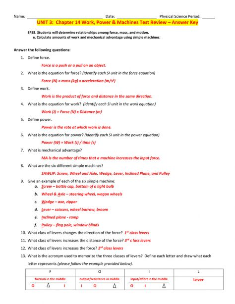 10 Work And Simple Machines Worksheet Answer Key Simple Machines Power Worksheets