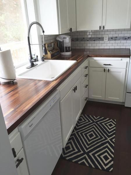 Diy Kitchen Remodel From 80 S Gold To Bright White And Updated White Cabinets 80s In 2020 Diy Kitchen Remodel Walnut Butcher Block Countertops Kitchen Renovation