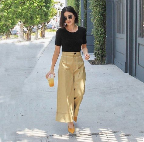 Get This Lucy Hale Look for Less: Wide Leg Cropped Pants - fountainof30.com