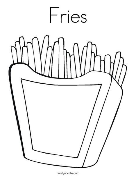Fries Coloring Page Coloring Page Template Printing Printable