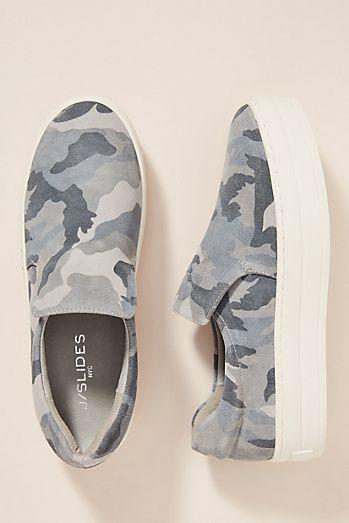 J/Slides Grey Camo Platform Sneakers