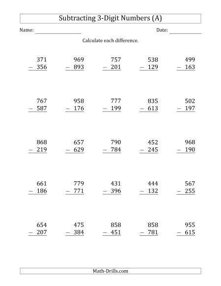 3 Digit Minus 3 Digit Subtraction Toplama Ve Cikarma 3 Sinif Matematik 2 Sinif Matematik Adding with regrouping worksheets 4th
