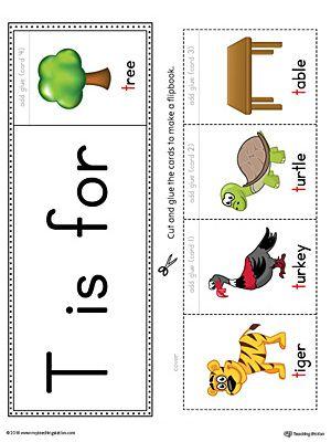 Letter T Beginning Sound Flipbook Printable Color Letter T Words Letter Activities Preschool Alphabet Worksheets Preschool Letter t worksheets flashcards coloring