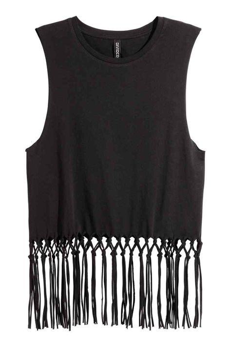 Top con flecos | H&M | Top con flecos, Ropa, Moda estilo