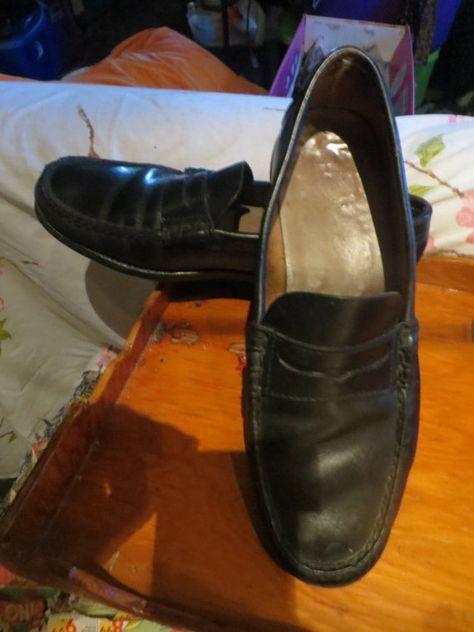 7d18a7c241b Vintage 1950s Mens black Leather Penny Loafer Moccasins essex rubber ...