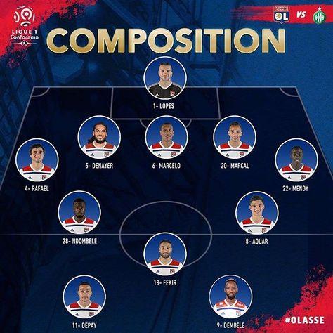 """Footbol on Instagram: """"Voici la composition d'équipe de l'OL en 3-5-2 pour ce derby contre Saint-Etienne ! Le XI : Lopes - Denayer, Marcelo, Marçal - Rafael,…"""""""