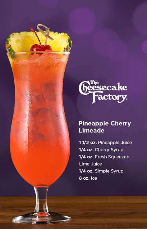 Try our at home recipe for the non-alcoholic Pineapple Cherry Limeade! Build in a mixing glass without ice. Shake well & pour into glass and top with Soda Water. Garnish with a slice of pineapple and a cherry. Refreshing Drinks, Yummy Drinks, Healthy Drinks, Healthy Food, Mixed Drinks Alcohol, Alcohol Drink Recipes, Punch Recipes, Liquor Drinks, Non Alcoholic Drinks
