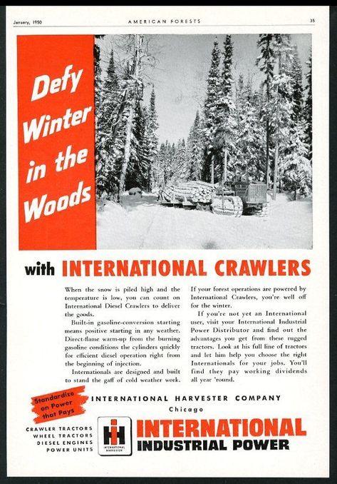 1950 International Harvester Diesel Crawler Tractor Logging Photo