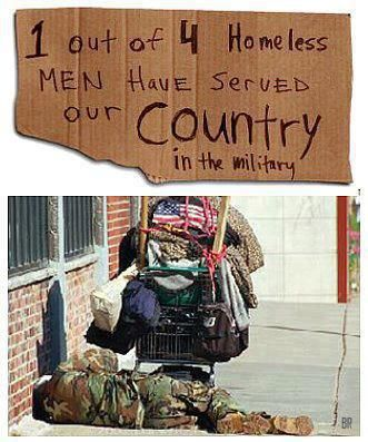 Damn it, it's not right! This makes me so angry, and so sad. How can any human being be cast off and walked by, but most especially those that put their lives on the line for our country!  The budget, initiated by republicans, with so many cuts to our veterans' services, sickens me.