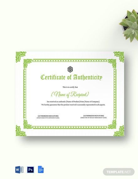 8 Certificate Of Authenticity Templates Free Samples Examples Format Blank Certificate Templates Printable Free Certificate