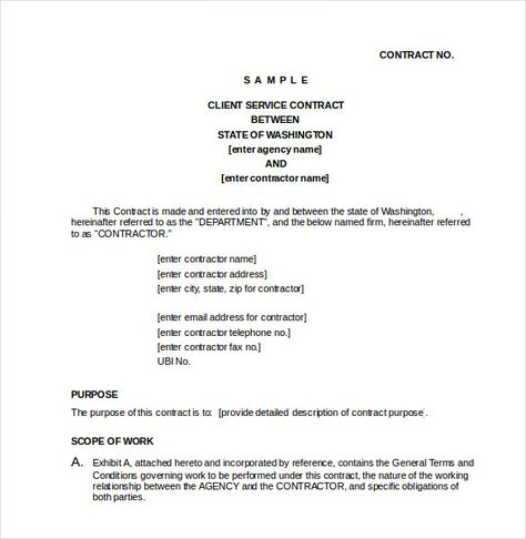 CLIENT SERVICE CONTRACT Doc , 23+ Simple Contract Template and Easy