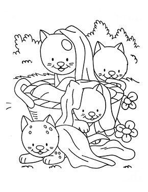 Ausmalbild Katzenbabys Im Garten Zum Ausmalen Ausmalbilder Malvorlagen Katze Ausmalbilderkatze Kindergarten Coloring Coloringpages Cats