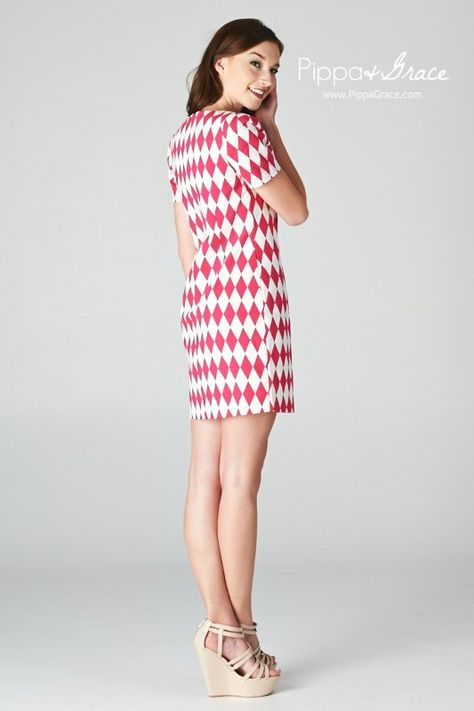 Fitted cocktail dress with short sleeves and a diamond checkerboard print design. Dresses, Sorority, Chi Omega, Alpha Delta Pi, Kappa Kappa Gamma, Alpha Phi, Delta Delta Delta, Delta Gamma, Delta Zeta, Kappa Alpha Theta, Pi Beta Phi, Zeta Tau Alpha, Phi Mu, Kappa Delta, Gamma Phi Beta, Wedding, Flirty xoxo, Pippa & Grace (@Pippa & Grace)