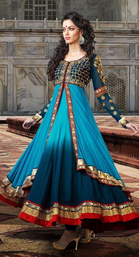 Exquisite Aqua Blue & Steel Blue Salwar Kameez