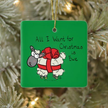 Funny Holiday Cute Sheep Christmas Cartoon Ceramic Ornament Zazzle Com Cute Sheep Christmas Cartoons Holiday Humor