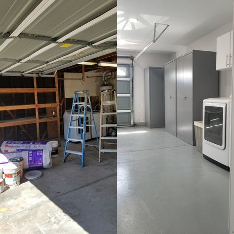 Before and after of our Garage remodel
