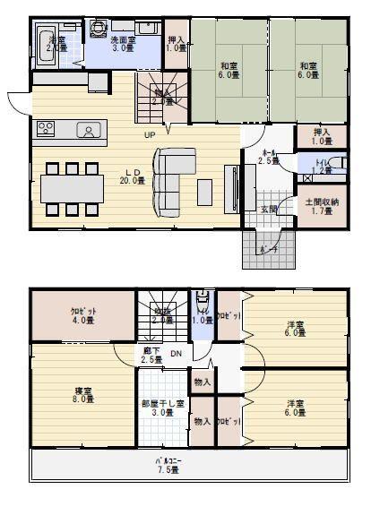 部屋干しスペースのある間取り図 間取り 人気 日本のモダンな家 二世帯住宅 間取り 日本家屋 間取り
