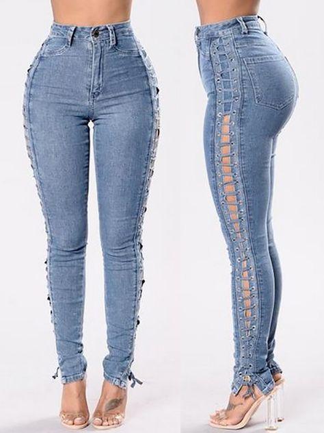 1b3edb15d77 Women Fashion Side Lace-up Denim Jeans