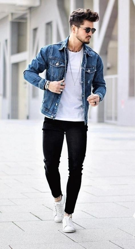 Healthy Men - Fall street wear combo white t-shirt blue denim jacket black skinny denim sunglasses no show socks white sneakers Trendy Mens Fashion, Stylish Mens Outfits, Casual Outfits, Fashion Black, Mens Fashion Outfits, Fashion Fashion, Fashion Ideas, Teen Guy Fashion, Vintage Fashion