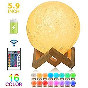 Moon Lamp 3d Iavatech 5 9 Inch Hanging Led Moon Night Light Dimmable Brightness With 16 Colors With Stand Remote And Touch Control Mood Light With Hook For Ch In 2020 Mood