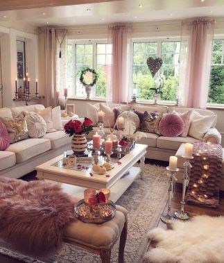 Recreate This White And Pink Cozy Living Room Decor Livingroom Decor Living Room Decor Cozy Pink Living Room Living Room Decor On A Budget