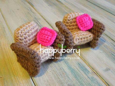 free Happy Berry Crochet: Crocheted Dolls House Furniture - Armchair Pattern