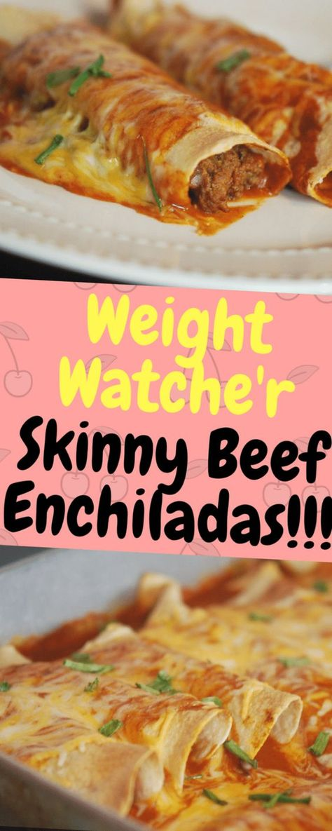 Weight Watcher Skinny Beef Enchiladas - One of food - Food & Drink that I love - Kalorienarme Rezepte Weight Watcher Dinners, Plats Weight Watchers, Weight Watchers Diet, Weight Watcher Recipes, Ww Recipes, Skinny Recipes, Detox Recipes, Mexican Food Recipes, Cooking Recipes